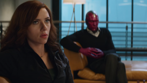 Black Widow looks hot while Vision looks dapper.
